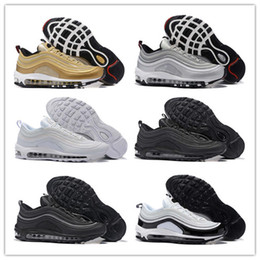 Wholesale Athletics Fashion - New 2017 MAXes 97 OG Metallic Gold Silver Bullet Running Shoes Fashion Athletic Casual Sports Online Mens Women Sneakers Athletics Shoes