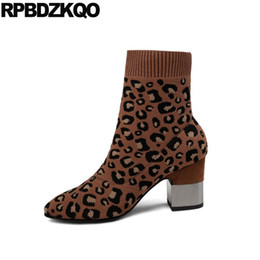 Wholesale Leopard Chunky Heels - Sock Ankle Short Brand Metal Heel Boots Slip On Block Knit Women Designer Leopard Print Winter Pointed Toe Shoes High Chunky New