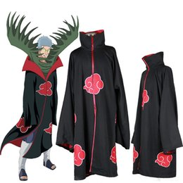 Wholesale japanese anime naruto cosplay costume - Japanese Anime Akatsuki Itachi Uchiha Cosplay Costume COS Naruto Deluxe Men's Cloak Trench For Halloween Chrismas