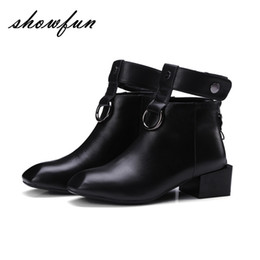 Wholesale Short Wedges Ankle Strap - Women's Genuine Leather Square Toe Med Heel Ankle Strap Ankle Boots Brand Designer Back Zip Autumn Punk Short Booties Shoes Sale