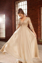 Wholesale Ladies Evening Dress Size 16 - Elegant 3 4 Long Sleeve Lace Prom Dresses Champagne Chiffon A-Line Party Dresses Beads Crystal Empire evening gowns Lady Evening Wear
