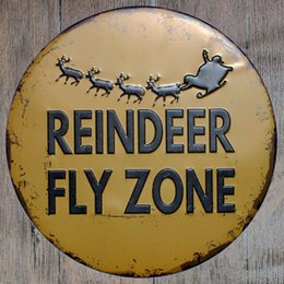Wholesale Antique Reindeer - Reindeer Fly Zone Round Retro Embossed Tin Sign Poster Wall Bar Restaurant Garage Pub Coffee Home Decor Christmas Gift