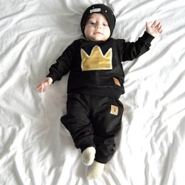 Wholesale Shirts Leather Sleeves Wholesale - Toddler clothes baby Outfits Baby boy clothing sets INS Crown leather Sweater T shirt long sleeve + Pant 2pcs set black Wholesale