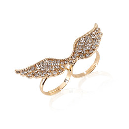 Wholesale Diamond Adjustable Rings - New Double wings rings opening gold & silver rings adjustable wing rings Band rings 2 colors diamond wholesales free shipping