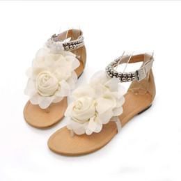 Wholesale hot pink patent heels - hot selling promotion Gladiator Women Bohemia Beaded Summer Shoes sale Flower Flat Heels Flip Flops Women's T straps Sandals