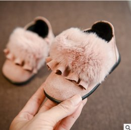 Wholesale Princess Plush - Winter Baby plush shoes fit 1-2 Years Toddler kids faux fur soft bottom warm footwear fashion girls falbala rabbit fur princess shoes R0910