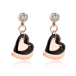 Wholesale Peach Chandelier - 2017 fashion peach heart earrings female temperament long pendant earrings love simple diamond earrings
