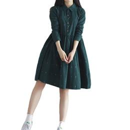 ropa mori Rebajas Mori Girl Vestido de la camiseta de Las Mujeres de La Vendimia Floja Lolita Vestido con Cuello de Manga Completa Casual Vestidos de Pana Retro Ropa Femenina