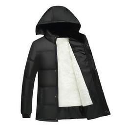 Wholesale Men S Large Jackets - Wholesale- Thick plush inner warm large size dad men 's winter jacket cotton pad jacket men' s cotton