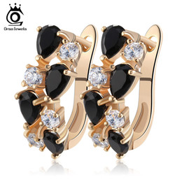 Wholesale Hoops For Girls - Hot Brand Jewelry 8 Pieces AAA Austrian Zircon Earrings for Women Gold Plated Stud Earrings for Girls Gift OME18