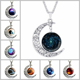 tree flowers Coupons - 64 styles Silver moonstone necklace Owl Flower tree of life Cabochon glass Charms moon and star pendant necklaces For women Fashion Jewelry