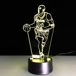 Wholesale Wedding Shimmer - 3D New Kobe Bryant Night Light Table Lamp LED Touch Switch Night Shimmering Light Table For Colored Children's Gift At Home decoration