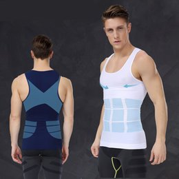 Wholesale Slimming Abdomen - Wholesale-Mens Gynecomastia Body Shaper Vest Belly Abdomen Burn Fat Tummy Slimming Singlet Lift Fitness Underwear Hot Shapers Shirts