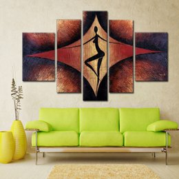Handpainted Modern Wall Home Decor Dance Abstract Oil Painting 5pcs Set At Discount