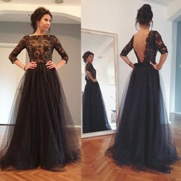 Wholesale Three Floor Fashion - Black A-Line Evening Dress 2017 Tulle Three Quarter Sleeves Lace Appliques Beaded Sexy Open Back Backless Prom Dresses Long