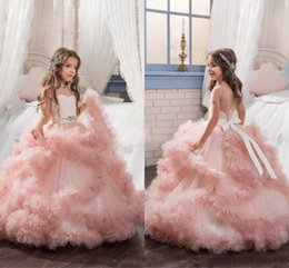 Wholesale Pictures Pageant Dresses Girls - Blush Ball Gown Flower Girls Dresses Blue Purple Tiered Puffy Tulle With Low Back Beaded Sash Jewel Pageant Dress First Communion Gown