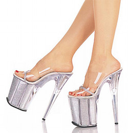Wholesale Sandals Woman Shoes China - 20cm Unusual High Heel Shoes Silver 8 Inch High Heel Gladiator Sandals Crystal Platform Slippers Made In China Sexy Rome Shoes