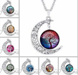 Wholesale Tree Pendant Men Women - 20pcs New Vintage Hollow carved gemstone necklace Moon Gemstone life tree Pendant Necklaces For man women jewelry A039