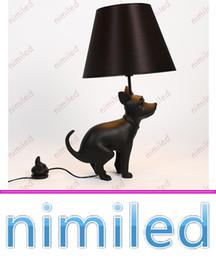 Wholesale Meeting Live - nimi1031 Italian Resin Creative Proud Dog Puppy Proud Table   Desk Lamp Lighting Black Dog Lights Meeting Living Room Bedroom Decorative