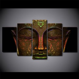5 panel framed hd printed metal buddha face artwork modern home wall decor painting canvas art painting wall poster pictures from suppliers