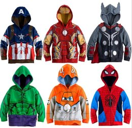 Wholesale Girls Beige Coats - DC31 NEW ARRIVAL BOYS girls Kids 100% cotton hoodies ironman spiderman kid girl's boys cartoon hoodies children outwear coat more styles
