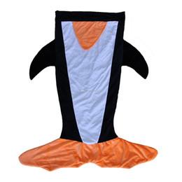 Wholesale Good Penguin - DHL fedex Kids penguin Sleeping Bags Winter Warm Blanket cartoon Shark Sleeping Bag good quality feel fit for trail 120*96CM C1249