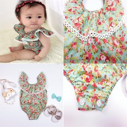 Wholesale Dress Size 18 Sleeves - INS baby Rompers Lotus leaf sleeveless Floral Jumpsuits cotton Rompers Ha dress kids climbing clothing Free shipping C1093