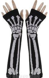 Wholesale Organic Cotton Gloves - Hot marking 50pc Newly design Unisex Punk Skull Black Halloween Long Arm Warmer Fingerless Dress Gloves
