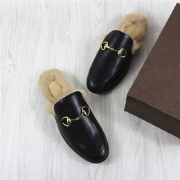 Wholesale Real Nest - 2016 Ladies Synthetic Women Fur Fo veol Nest Shape Comfortable Women Slippers Black British Style Real Leather Flat Loafer Shoes
