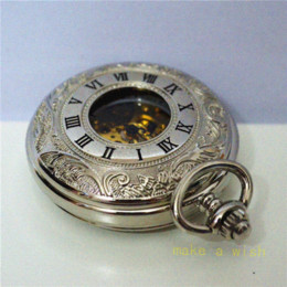 Wholesale Sliver Chain Watch - free shipping!Antique automatic pendant watch necklace mens sliver roman pocket watch chain vintage mechanical military watch