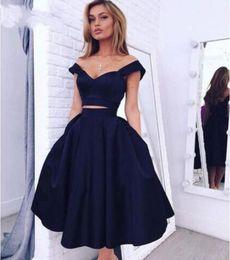 Wholesale Evening Dess - 2016 Hot Sale Two Pieces Navy Blue Prom Dress Party Dess Off The Shoulder Sexy Evening Dress Tea Length Graduation Dress Cheap Custom made