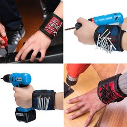 Wholesale pocket magnetic - Magnetic Wristband Pocket Tool Belt Pouch Bag Screws Holder Holding Tools Magnetic bracelets Practical strong Chuck wrist Toolkit YYA784