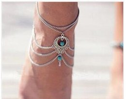 Wholesale Ethnic Anklets - Boho Ethnic Turquoise Beads Anklets Chic Tassel Foot Chain Anklet Bracelet Body Jewelry Anklets For Women Free Shipping