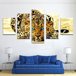 Wholesale Leopard Print Home Decor - 5 Pieces Wall Art Painting Leopard Painting Animal Canvas Picture Art HD Print Painting The Pictures For Home Decor Unframed Ready to Hang