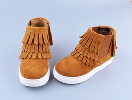Wholesale Girls Boots Size 25 - Children tassel Boots autumn winter Hot Sale Fashion Style Girls Martin Boots girls genuine leather shoes Kids Shoes Size 25-34 T0026
