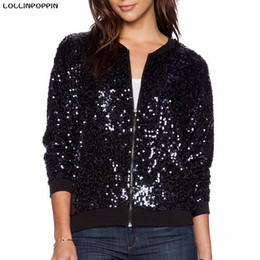 оптовые женские бомбардировочные куртки Скидка Wholesale- Women Sequin  Jacket Paillette Black Bomber Jacket New 2017 European Fashion Ladies Bling Baseball Jackets Free Shipping
