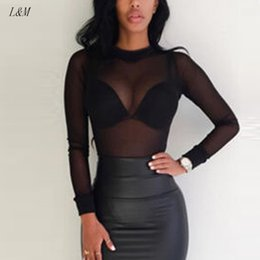 Wholesale Long Sleeve See Through Shirt - 2016 Sexy Women Blouses See Through Transparent Mesh Stand Neck Long Sleeve Sheer Blouse Shirt Ladies Tops Tee Plus Size