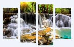 Wholesale Framed Oil Painting Landscape Large - 4 panel The Waterfall With Tree Large HD Picture Decorative Art Print Painting On Canvas For Living Room Wall Unframed