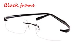 Wholesale Titanium Rimless Spectacle Frames - Rimless Glasses memory titanium frame flexible men's eyeglasses glasses prescription spectacle optical frame TR90 super-elastic leg