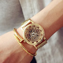 Wholesale Watch Skeleton Woman Wrist - 2016 Classic Transparent Skeleton Watches Lady Women Men Silver Gold Vintage Hollow Wrist Watch Stainless Steel Clock Relojes