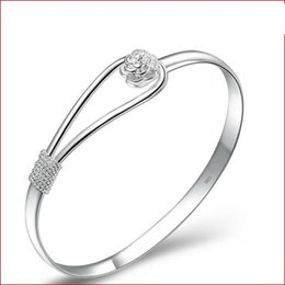 Wholesale 925 Silver Rose Flower Ring - Silver Bracelet 925 Bracelets for Women Ladies Bangles Bangle Rose Flower Cuff Bracelet 2016 Fashion Jewelry Hand Accessories Party Gifts