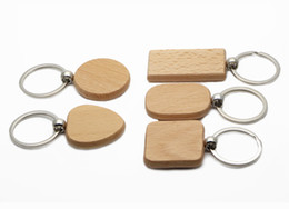 Wholesale Car Keys Blanks - 25X Blank Wooden Key Chain Personalized Wood Keychains Rectangle,Squre,Round and Heart Sharped Four Size to Choose KW01X Drop Shipping