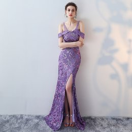 Wholesale Jersey Knit Evening Gowns - Mermaid Designer Evening Gowns Side Split Purple Prom Dress Sexy Long Evening Dresses off the Shoulder Strap Imported Party Vestidos De Gala