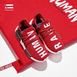 Wholesale Hot Athletic Shoes Woman - 2017 Hot Pharrell Williams X NMD Women Men Running Shoes Human Race NMD Sports Shoes Athletic Outdoor Shoes Yellow Blue Wholesale