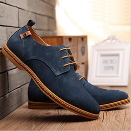 Wholesale Navy Casual Dress - Hot Sell Autumn Men Derby Shoes Suede Lace-Up Flats Pointed Toe Cow-Muscle Sole Casual Business Shoes Men Dress Shoes Large Size 38-48