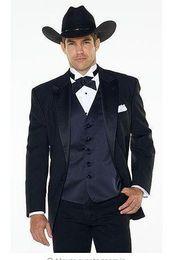 Wholesale Western Tuxedos - 5 piece(jakcet+pants+bow+tie) Notch lapel Western Cowboy Style Groom Wear tuxedos Best man Wedding Suits for Groom Man vestido