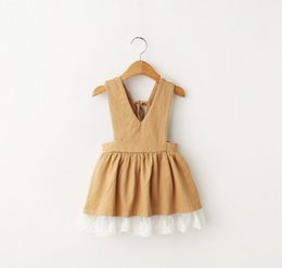 Wholesale Dress Child Garment - 2016 Summer Girl's Dresses Baby Kids Clothing Girl Lace Suspender Dress 2 Color Children Cotton Overalls Korean Child Garments Lovely 9313