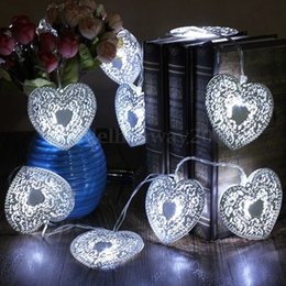 Wholesale Heart Shape Ornaments - 2016 Heart Shaped Christmas String Ligh Festival Halloween Party Wedding Decor Indoor Outdoor Warm White 10LED Fairy Light Metal