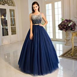 Vestido de noche azul marino Vestido de baile de lujo Vestidos de baile con lentejuelas brillantes Cuentas desmontables Fajín Vestido de alfombra roja Con cordones Volver Tul suave desde fabricantes