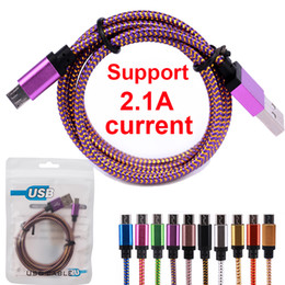 Wholesale Charging Cord Color - Phone DHL Free 3M 10FT 2M 6FT 1M 3FT Micro USB Metal Head Braided Data Charger Cable Fabric Knit Charging Cord Color Changing For Android